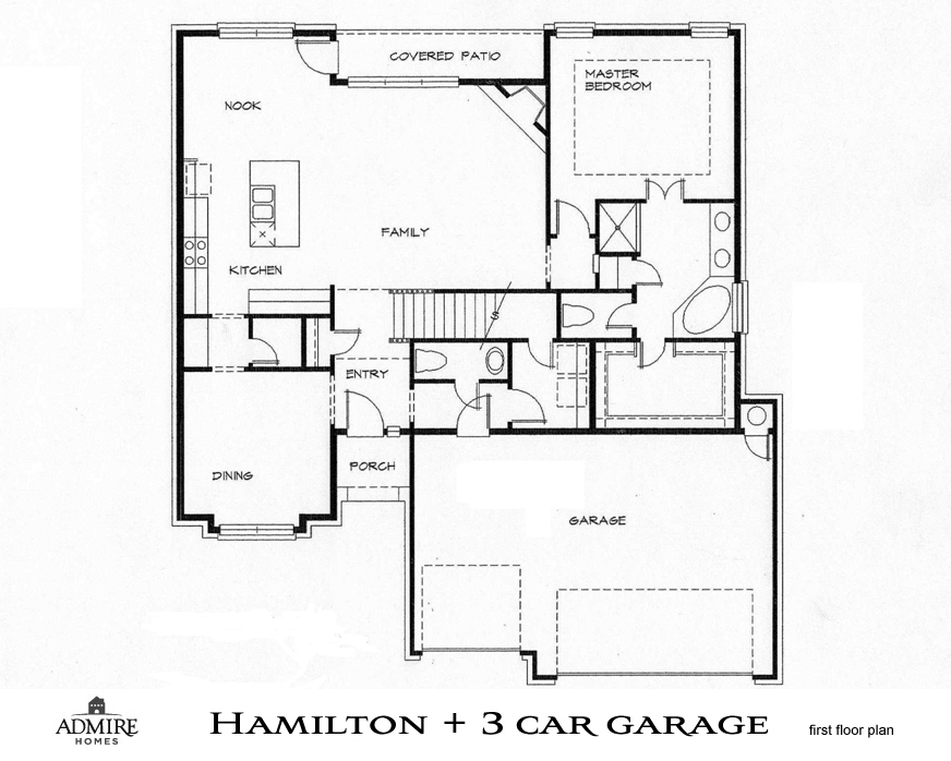 3 stall garage floor plans for Ranch floor plans with 3 car garage